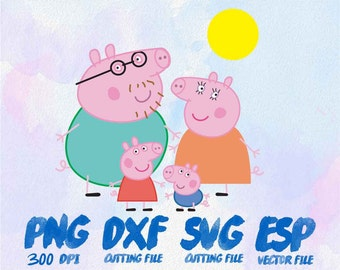 Pappa Pig family Clipart , SVG Cutting , ESP Vectors files , T shirt , iron on , sticker ,Personal Use