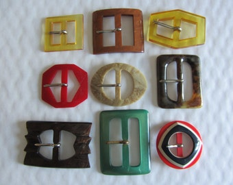 9 belt buckles Vintage 1960 multi-coloured fashion - 11872