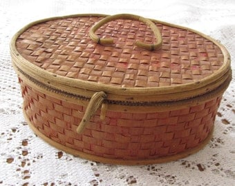 Old box couture oval case woven Wicker - 12007