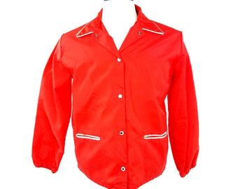 70s Coaches Jacket Windbreaker, Red Parka Coat, Red Windbreaker Jacket, SS Kresge Kmart, Lightweight Nylon Coat, Vintage Womens Medium