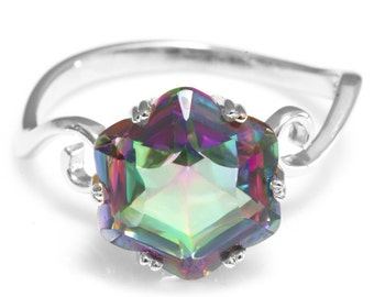 Sterling Silver 3.2ct Rainbow Mystic Topaz Ring