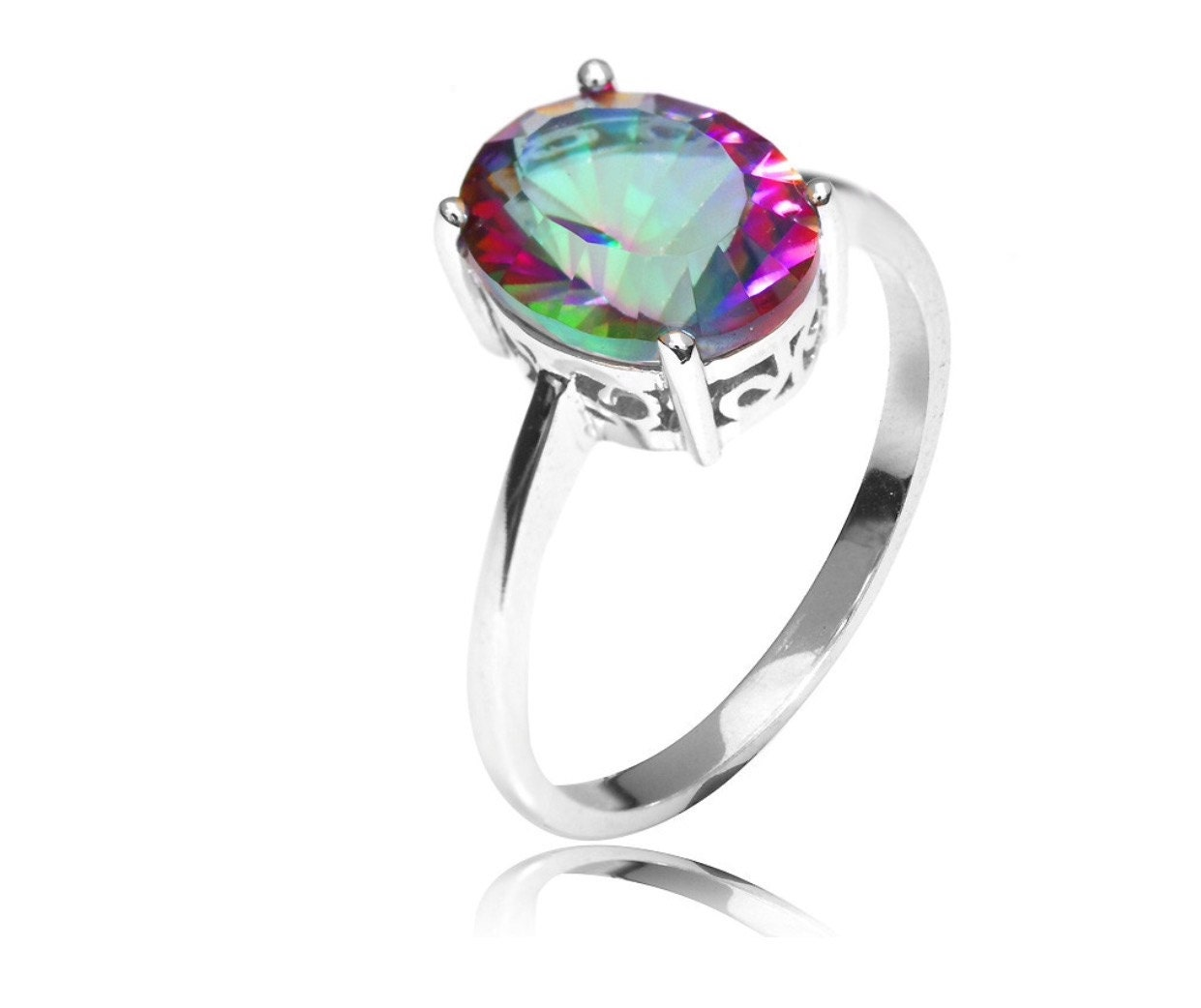 sterling silver 2 5ct oval rainbow mystic topaz promise ring