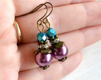 Teal and purple Bridesmaid earrings Teal and purple wedding jewelry Bridesmaid Gift teal earrings Teal and purple jewelry