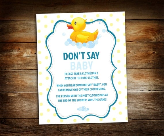 Don T Say Baby Baby Shower Game By Galleriadesignstudio On