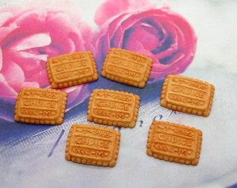 6 Piece Biscuit Cookies Resin Cabochons - Kawaii Decoden Flatback Resin (TDK-C1054)