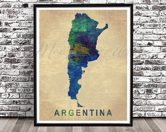 Argentina Art Etsy - Argentina map to print