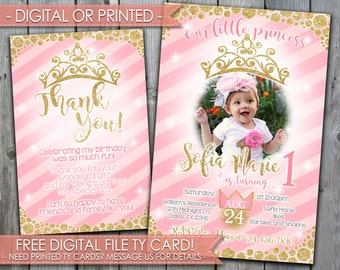 Pink and Gold Princess Birthday Invitation, Pink and Gold Princess Invitation, Princess Invite, Princess Party, Pink Girl Invitation, #443