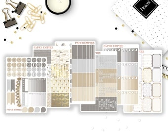 Earthy Neutrals | Full Weekly Sticker Kit - 162 Planner Stickers for Erin Condren Life Planner Vertical, Plum Paper Planner, Filofax etc.
