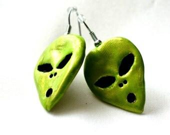 I Want to Believe Green ET Alien Earrings