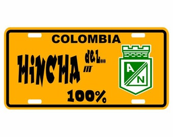 Hincha del Nacional 100% - Colombia Decorative License Plate - Placa Football