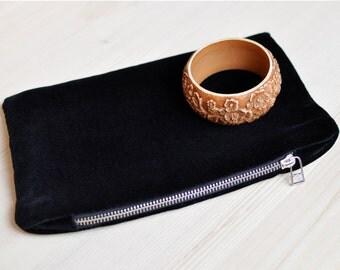 FREE SHIPPING Black Velvet clutch, black evening purse, velvet zipper bag, black velvet handbag, pouch, gift for her, gift for girlfriend