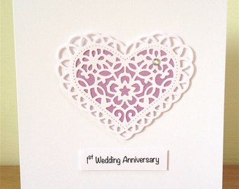 1st Wedding Anniversary Card - First Anniversary Card - 1st Anniversary - Paper Anniversary - Handmade Card - First Anniversary Card