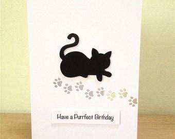 Cat Purrfect Birthday Card - Cat Birthday Card - Handmade Birthday Card - Cat Card - Greeting Card - Cat Lover