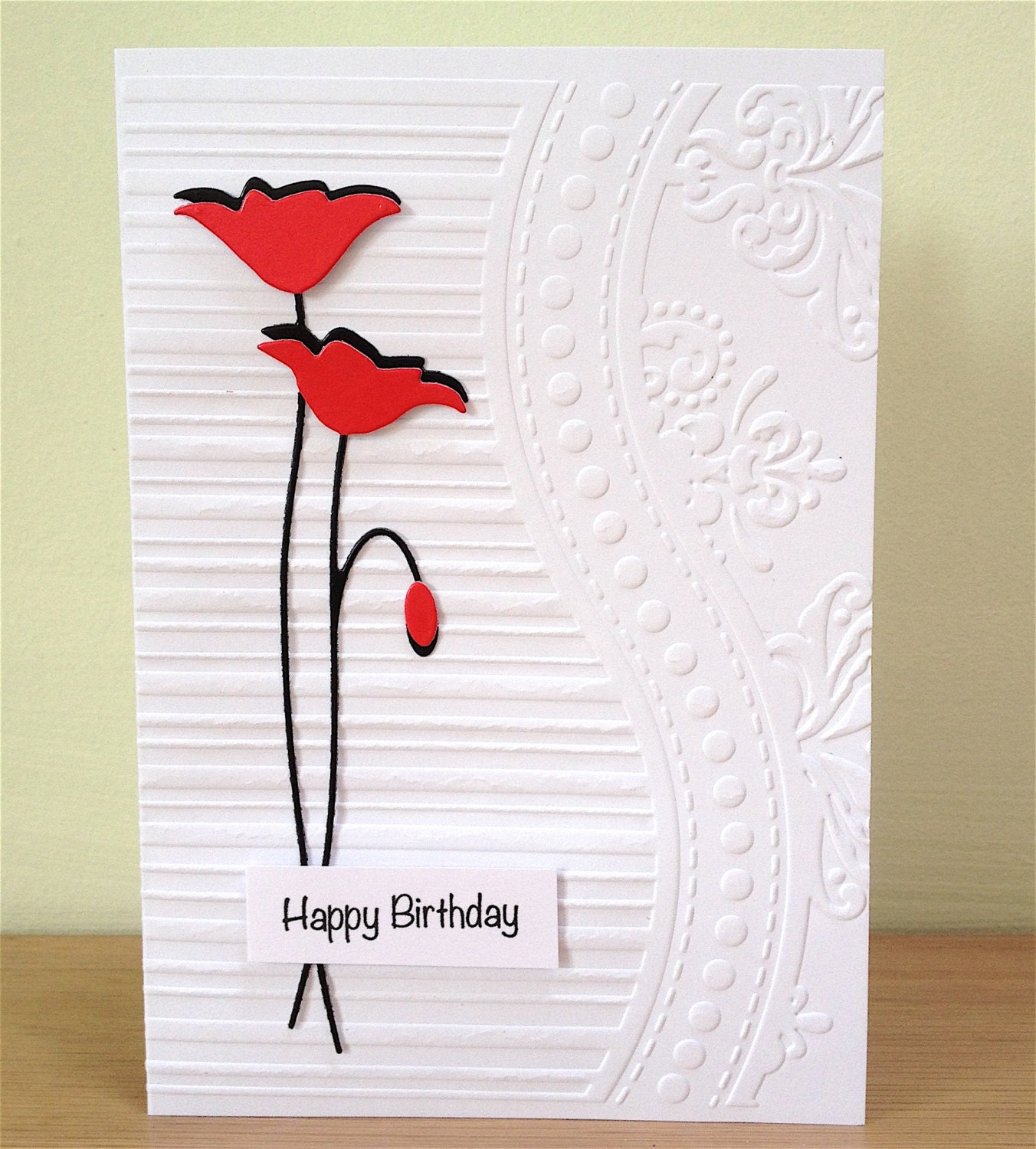 Happy Birthday Card Poppies Card Handmade By LooksInviting