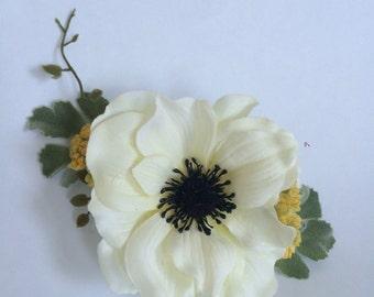 Silk Flower Bridal Comb,  Bridal Hair Comb, Flower Hair Comb, Anemone Comb, Wedding Hair Piece, Rustic Wedding, Woodland Headpiece, Bridal