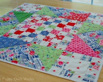 Quilted Table Topper, Candle Mat, Centerpiece, Table Mat, Spring Table Topper, Summer Table Topper,  Floral, Colorful, Spring Decor