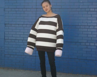 Oversized Pink and Brown Stiped Puffy Reversible Sweatshirt