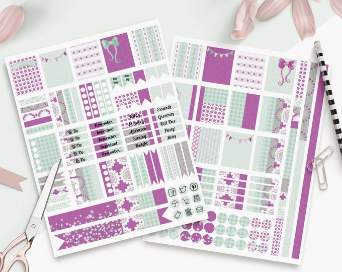 PLANNER STICKER Sheets Purple & Mint Banners With Confetti Printable Digital Stickers DIY Erin Condren Life Planner social media Icons