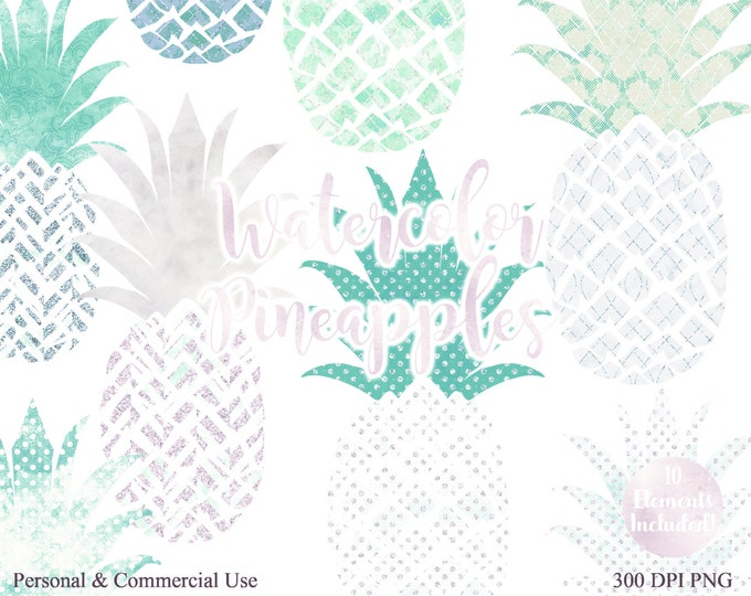 WATERCOLOUR PINEAPPLE CLIPART Commercial Use Clip art Fun Tropical Clip art Blush Pink & Mint 10 Pineapples Planner Tropical Beach Clip art