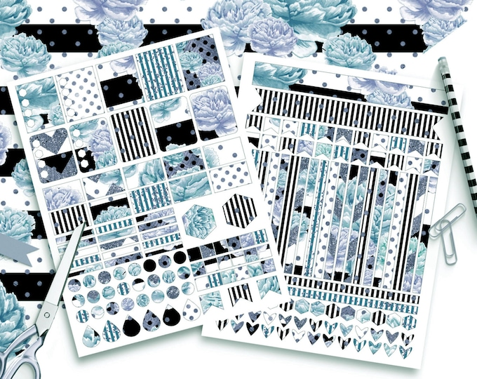 AQUA WATERCOLOR STICKER Sheets Black White Copper Floral Blue Metallic Stripes Sticker Printable Sticker Erin Condren Life Planner Sticker