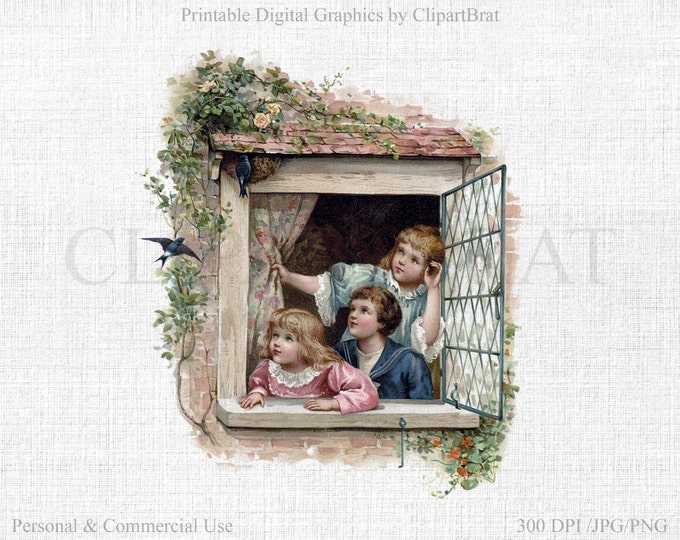 SHABBY CHIC WINDOW Clipart Commercial Use Clipart Children in Window Flowers & Birds Fabric Transfer Image Victorian Digital Graphic Jpg/Png