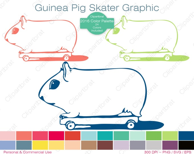 SKATEBOARD GUINEA PIG Clipart Commercial Use Clipart Hamster Graphic 2016 Color Palette 24 Colors Skater Vector Graphic Stamp Png Eps Svg