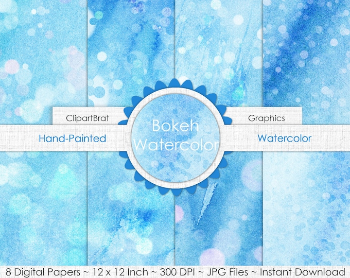 WINTER WONDERLAND WATERCOLOR Digital Paper Pack Commercial Use Background Paper Sky Snow Baby Blue Bokeh Paper Real Watercolor Paper Texture