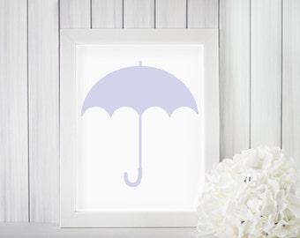 Purple Umbrella Nursery Art Print Silhouette 8x10 Home Wall Decor