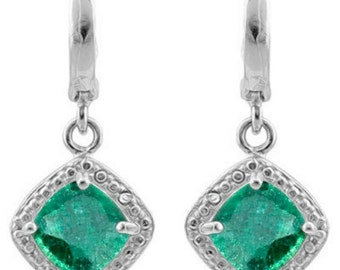Excellent 2.72 Ct TCW Genuine Emerald Earrings Diamond Accent Sterling Silver