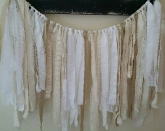 Lace and fabric garland/ wall hanging.