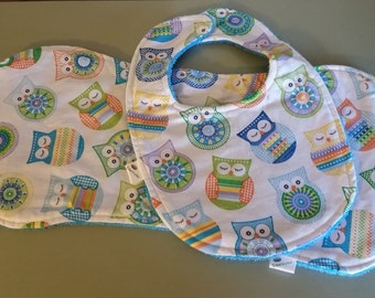 On Sale!!!!!! Baby Gift Set, Bib and Over the Shoulder Burp Cloth, Terry Cloth
