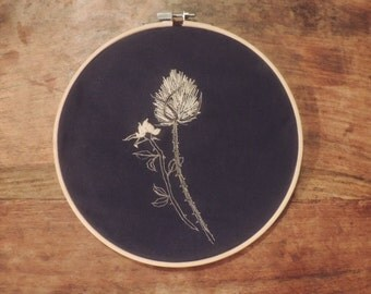 Hand embroidered thistle and rose