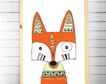 Nursery Print | Tribal Prints | Fox Prints | Woodland Animal Prints | Nursery & Bedroom Decor | A4 A3 | Kids Wall Art
