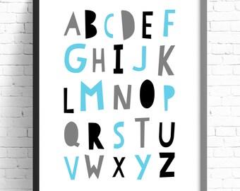 Nursery Print Alphabet, Nursery Print, Kids Room Wall Art, A4 8x10,