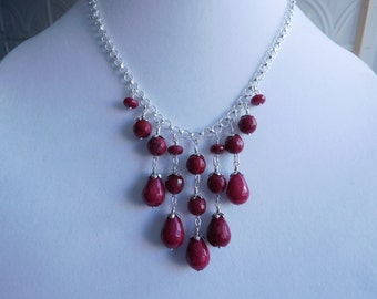 Sterling Silver Ruby Jade Bib Necklace