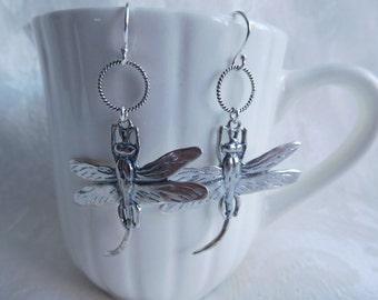 Sterling Silver Dragonfly Handmade Earrings