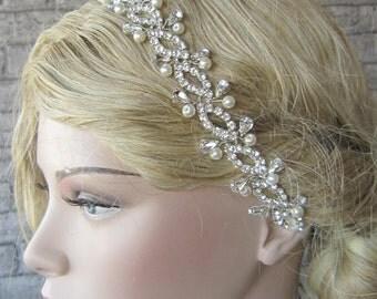 Rhinestones headpiece, wedding headband, bridal hairband, headpice, crystal headband, ivory ,pearl headband