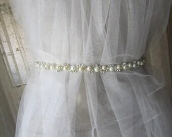 Wedding sash , bridal pearl and rhinestones Sash Belt, wedding accessories, EXPRESS SHIPPING