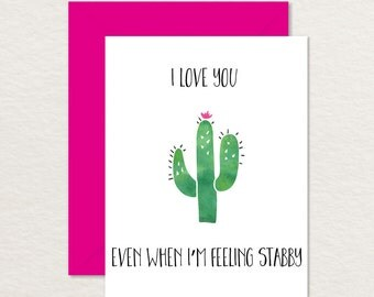 Funny Valentine / Cactus Card A2 / Relationship Card / Printable Love Card / Funny Friendship Card / Best Friend Card / Anniversary Card