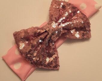 Pink polka-dot Sequin bow