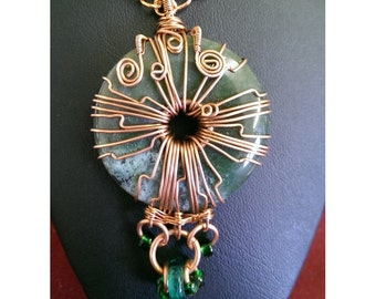 Wire Wrapped Copper and Bead Adorned Green Agate Donut