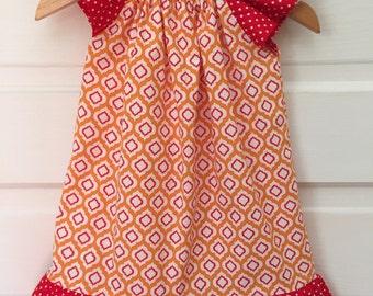 Girls Red and Orange Flutter Sleeve Dress