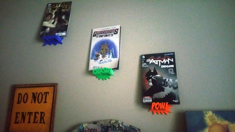comic book display shelf pow crash kaboom 3d printed. Black Bedroom Furniture Sets. Home Design Ideas