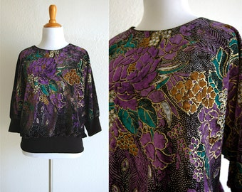 80s Velour Floral Blouse with Gold Paint and Stretchy Waistband Size Medium/Large