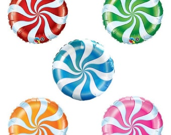 "Candyland Balloons 18"" mylar Pick your Color Red, Blue, Orange, Pink, Green Sweet Shoppe Lollipop Candy Peppermint"