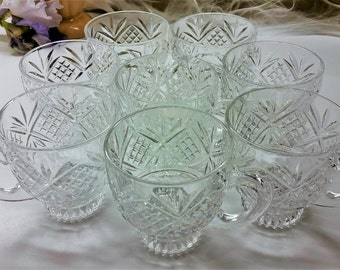 CUT CLEAR GLASS Coffee Mugs with Fan & Grid Pattern Vintage Set of 8 Large Cups With 8 Ounce Capacity