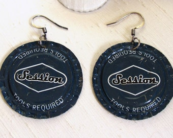 Bottle Cap Earrings ~ Sessions Beer Cap Earrings ~ Blue Recycled Upcycled Funky - pierced