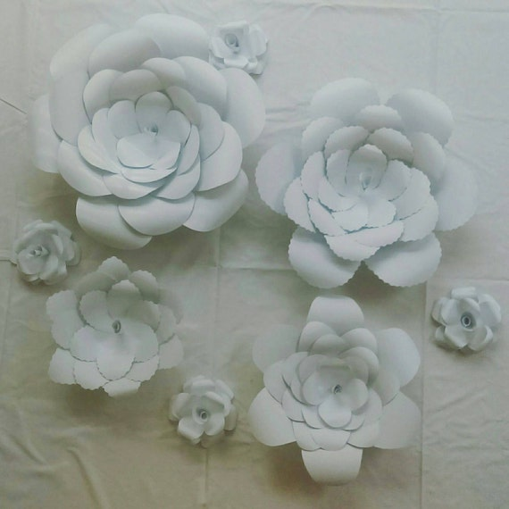 all white paper flowers wall decor home decor by
