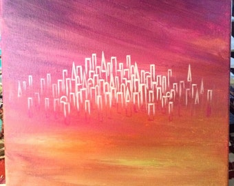 "Art Painting Original White/Pink/Yellow ""Invisible City"""