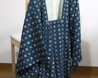 道行 MICHIYUKI-COAT Blue floret pattern